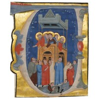12. the apostles preaching, large historiated initial on a cutting from an illuminated manuscript choirbook, on vellum