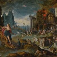 139. follower of jan brueghel the elder   juno's arrival in hades