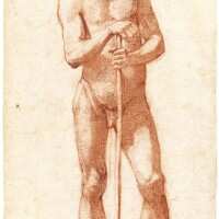 325. lodovico cardi, called il cigoli   a standing male nude, leaning on a stick