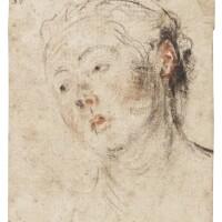 342. jean antoine watteau | head of a young woman