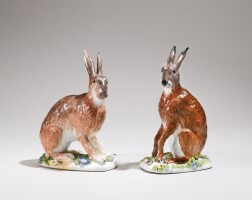 29. a pair of meissen figures of hares circa 1750