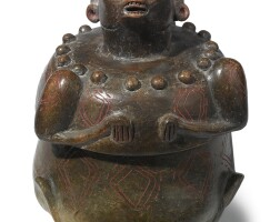47. maya lidded brownware effigy vessel early classic, ca. a.d. 250-450