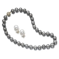 8. cultured pearl and diamond necklace and a pair of ear clips