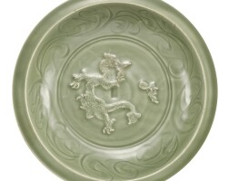 540. a large longquan celadon 'dragon' dish yuan dynasty