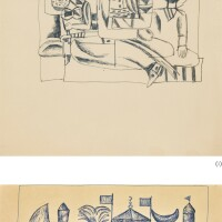 65. shakir hassan al-said   i) untitled (three figures)ii) untitled (view of a town)