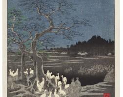 23. utagawa hiroshige i (1797–1858)new year's eve foxfires at the changing tree (oji shozoku-enoki omisoka no kitsunebi) edo period, 19th century |