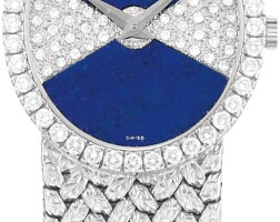 17. piaget | reference 9826 d2 a white gold and diamond-set bracelet watch with lapis lazuli dial, circa 1980