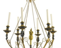 13. a north european neoclassical ormolu and patinated bronze six-light chandelier circa 1800