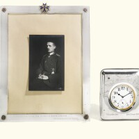 90. a swiss doxa silver-plated pocket watch numbered 818892,in a leather-backed silver presentation frame, gebr. friedlander, berlin, circa 1915
