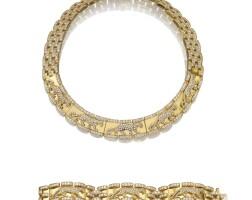 314. gold and diamond demi-parure, 'panthère', cartier