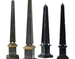 44. a pair of giltwood reverse painted glass obelisks and a pair of lapis inlaid black marble obelisks, 20th century  