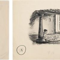 42. rasipuram krishnaswami iyer laxman | untitled (man lying in the verandah); untitled (the parsi girl)