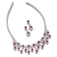 1617. 紅寶石配鑽石項鏈及吊耳環套裝