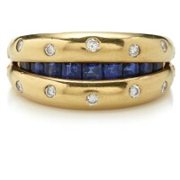 504. sapphire and diamond ring, fred