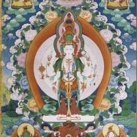 41. 清十九世紀 藏傳十一面觀音唐卡 設色布本