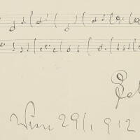 186. lehár, franz. two autograph musical quotations signed and inscribed