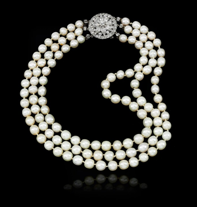 Fabulous natural pearl and diamond necklace, late 19th century.