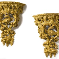 143. a fine pair of george ii giltwood wall brackets circa 1755