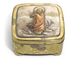 31. a japaneseoval shibuichibox and cover, meiji period, late 19th - early 20th century  