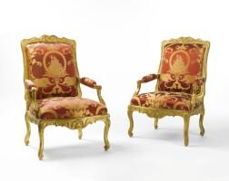 24. a pair of régence carved giltwood fauteuils circa 1720