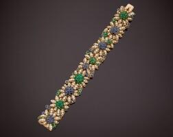 9. gold, diamond, emerald and sapphire bracelet, van cleef & arpels, france