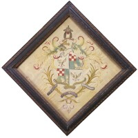 12. embroidered coat of arms of the cushing family, boston, massachusetts, circa 1750