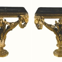 38. a pair of george iii giltwood and japaneselacquerconsole tables attributed to johnlinnell, circa 1765,the japanese lacquer topsearly 18th century
