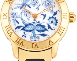 113. glashütte   senator meissen a limited edition yellow gold wristwatch with porcelaindial, circa 1990