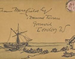 48. jack b. yeats, illustrated envelope to john masefield