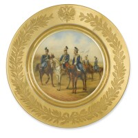 74. a russian porcelain plate from a military service, imperial porcelain manufactory, st. petersburg, period of alexander iii (1881-1894), dated 1883