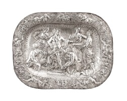 6. an italian large silver rectangular presentation dish, unmarked, signed s.t. varti,genoa, dated1674 | an italian large silver rectangular presentation dish, unmarked, signed s.t. varti,genoa, dated1674