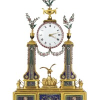 3631. a magnificentswiss ormolu, enamel-mounted and paste-set striking and musical 'dressing table' portico clock 18th century