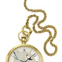 38. 寶璣(breguet) | 1890型號「souscription perpetuelle」黃金自動上鏈懷錶備日期、動力儲存及月相顯示,年份約1995。