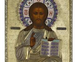 555. a silver-gilt and cloisonné enamel icon of christ pantocrator, orest kurlukov, moscow, 1896-1900 |