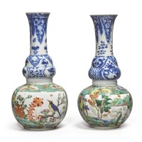 1039. a pair of underglaze-blue and famille-verte double-gourd vases qing dynasty, kangxi period |