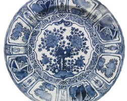 727. a large chinese blue and white 'kraak' dish ming dynasty, wanli period