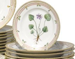 24. a set of twenty-one royal copenhagen 'flora danica' saladplates modern