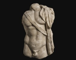 50. a roman marble sarcophagus relief torso of a young warrior, eastern mediterranean, 1st half of the 3rd century a.d. | a roman marble sarcophagus relief torso of a young warrior, eastern mediterranean