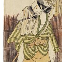 7. katsukawa shunko i (1743–1812)an actor of the ichikawa family edo period, 18th century woodblock print, signedkatsukawa shunko ga,circa 1779 vertical hosoban: |