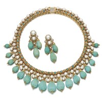 154. turquoise, cultured pearl and diamond demi-parure, 1960s