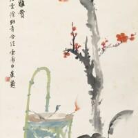 5. 江寒汀、唐雲、徐紹青、白蕉 《歲朝圖》 設色紙本 立軸
