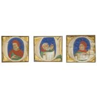 9. three historiated initials on cuttings from an illuminated choirbook on vellum