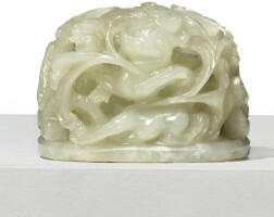 1548. a pale celadon jade 'chilong and lingzhi' hat finial qing dynasty, 19th century  