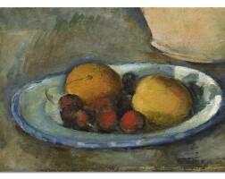112. paul cézanne | abricots et cerises sur une assiette