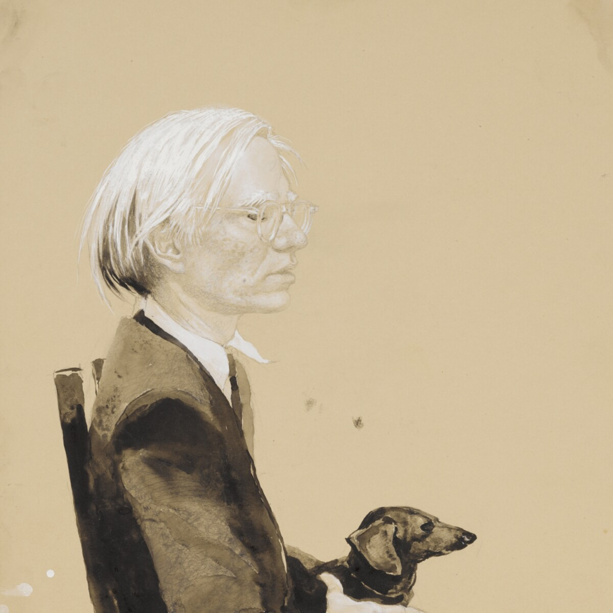 Image result for Jamie Wyeth's Andy Warhol Sitting with Archie (No.9)