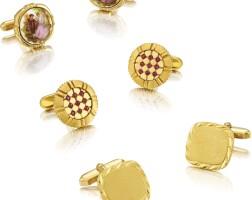 2010. limoges 及unsigned | 三對黃金及銅鑲藍寶石袖扣,約2000年製。