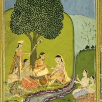 210. a portrait of a european lady, reverse with ladies picnicking in a garden, lucknow, circa 1760-70