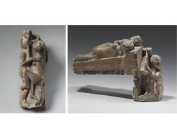 18. a polychrome limestone group, late ptolemaic/roman period, circa 1st century b.c. / 1st century a.d.