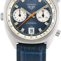 139. heuer   carrera, reference 1153 a stainless steel chronograph wristwatch with date, circa 1969