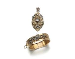 30. diamond pendant/brooch and bangle, late 19th century